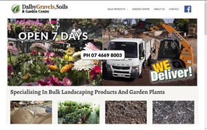 Dalby Gravels, Soils and Garden Centre website designed by pjWaters Web Design